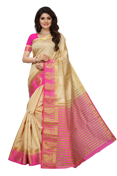16to60trendz Beige and Pink Tusar Silk Handloom Art Work Kanjivaram saree $ SVT00013