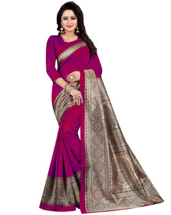 Muta Fashions Women's Unstitched Art Silk Pink Saree $ MUTA1413