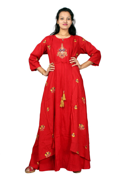 MV FASHION Reyon Cotton Embroidered & Printed Red Gown $ MV_G_1203