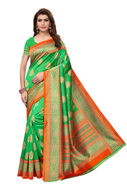 16TO60TRENDZ Green Color Printed Bhagalpuri Silk Saree $ SVT00482