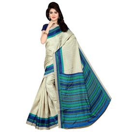 BL Enterprise Women's Bhagalpuri Cotton Silk Blue Color Saree With Blouse Piece $ BLLB-55