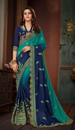 Fashion Zonez Embroidery Work Chinon Silk Rama & Navi Blue Designer Saree With Blouse $ FZ 2663