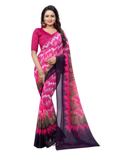 Muta Fashions Women's Unstitched Georgette Pink Saree $ MUTA1541