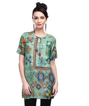 Front Tie-Up Printed Tunic