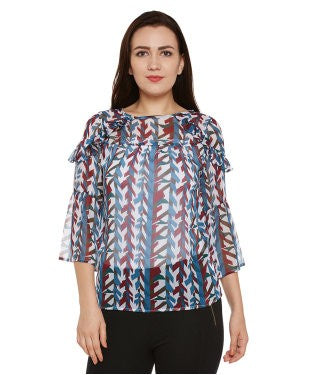 Oxolloxo Multicolor Printed Top with Ruffles