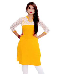 Muta Fashions Women's Semi Stitched Casual Brasso Net Yellow Kurti $ KURTI215