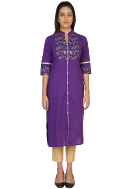 Vaniya Women Cotton Kurta Purpal Solid Kurti $ VN-K105