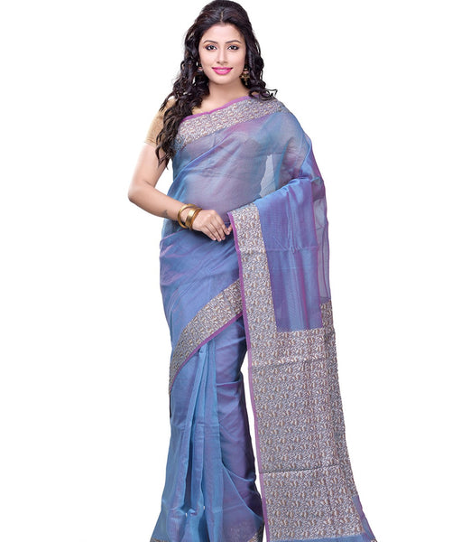 Varuna sky blue cotton blend saree FIBRIS010SB_Sky Blue