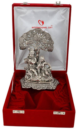 International Gift Silver Plated Radha Krishna God Idol Murti with Beautiful Velvet Box Packing Exclusive Gift for Diwali Gift Items and Wedding Gift Items $ GSI-101