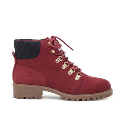 London Rag Women's Wine Red Lace up Boots-SH1605WINERED