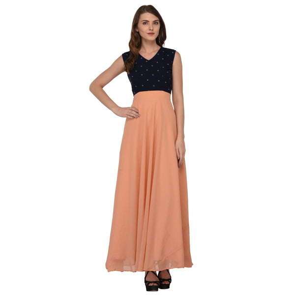 GATHERED  LONG GEORGETTE DRESS $ GB0002
