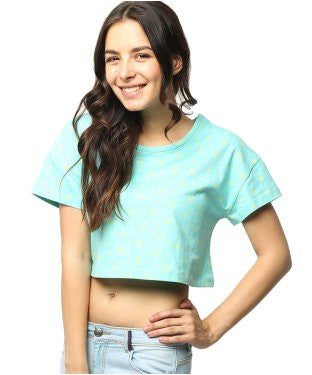 American Swan Aqua And Yellow S/S Top