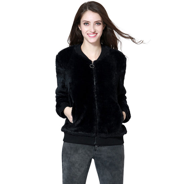 London Rag Soft and Comfortable Black Fur Jackets-CL7334