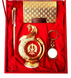 Gold Plated Ball Pen with Visiting Card Holder with Key Ring and Peacock Shape Sikh Religious Symbol Car Dashboard and Home Temple with Velvet Box $ IGSPBR101053