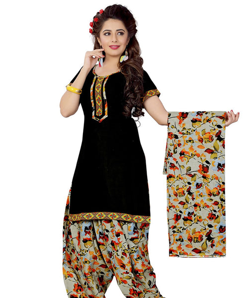 Minu Suits Black Cotton Salwar Suits Sets Dress Material Freesize,Satinpatyala_6003