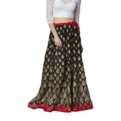 La Vastraa's Cotton Gold Block Printed Black Skirt-LS018
