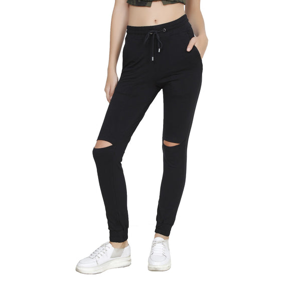 Second Half Balck Cut-out Jeggings-SH0020