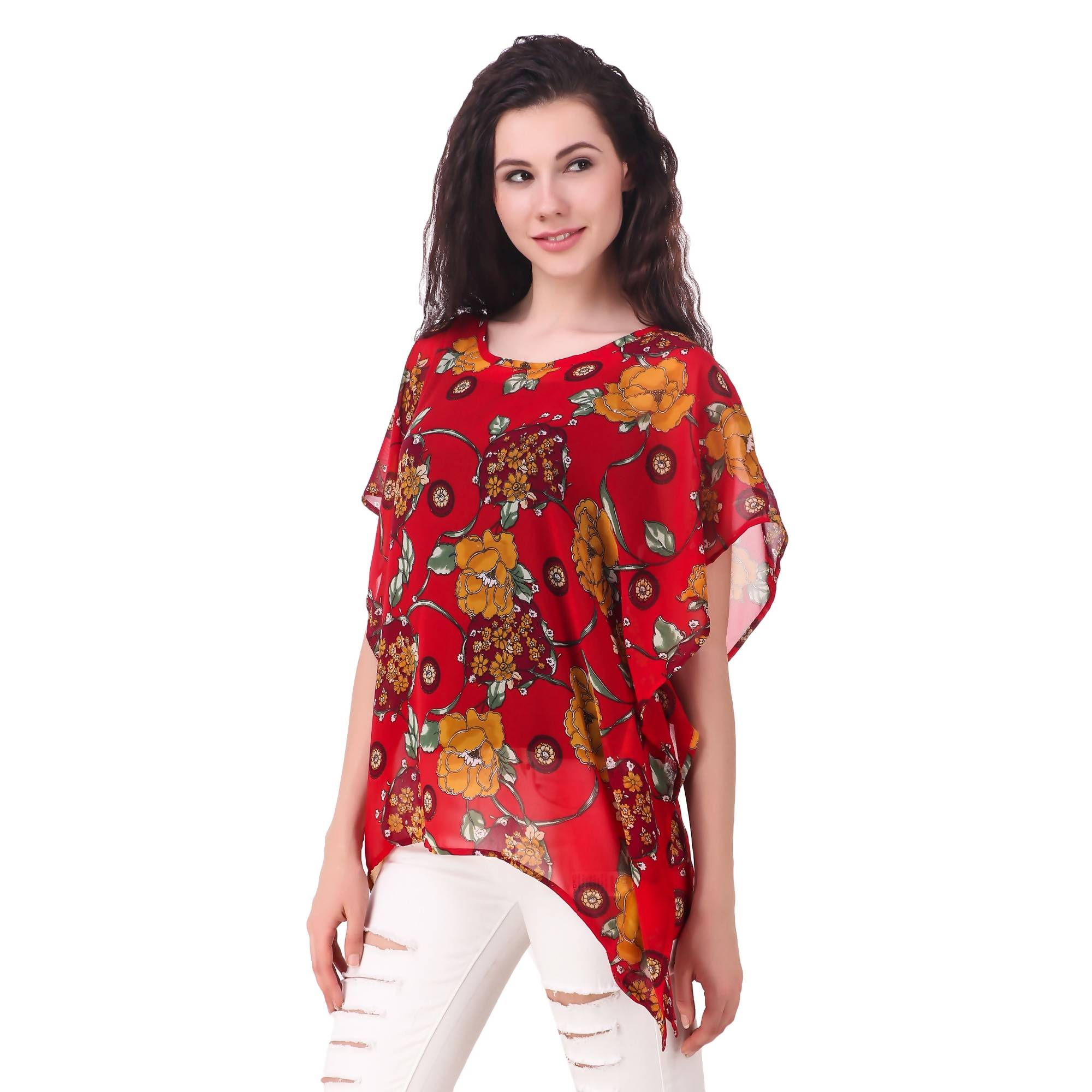 816d904a22d0 ... Fame 16 Printed Women'S Round Neck Red Georgette Flared Floral Printed  Kaftans $ F16-1600182 ...