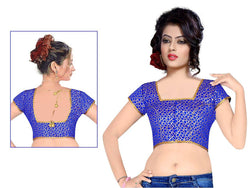 Manvi Fashion Incredible Designer blouse in Brocade fabric wedding blouse Blue color good Lace Readymade Blouse $ MF 1656