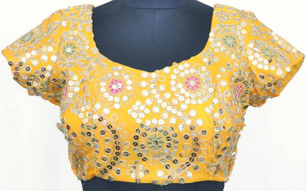 Stitch O Fab Yellow mirror work Women Blouse-SOFymtwb129