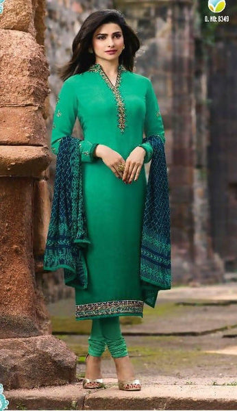 YOYO Fashion Green Crepe Straight Semi-Stitched Salwar Suit With Dupatta $ F1294