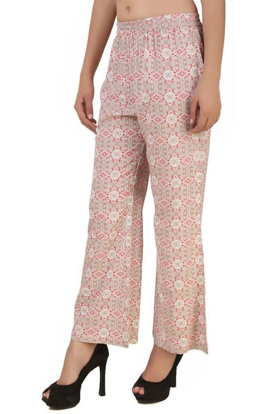 Fame 16 Flared Women's Red Rayon Floral Printed Plazzo $ F16-1600060