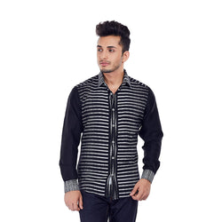 EVOQ Black Printed Shirt With Plain Full Sleeves  With And Smart Spread Collar-Monochrome Motif_Black