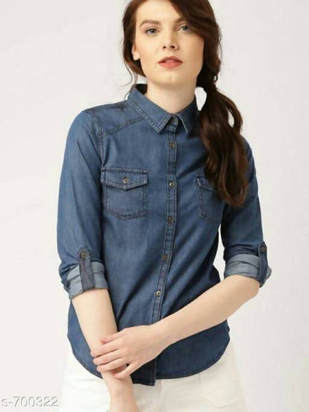 Gaurik Trendy Solid Denim Shirt $ Design No. 10