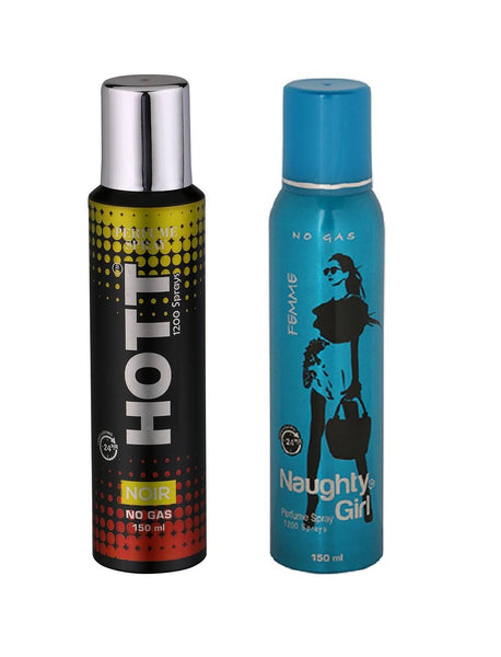 HOTT Mens NOIR & Naughty Girl FEMME - (Set of 2, No Gas Deodorant for Couple) (150ml each)