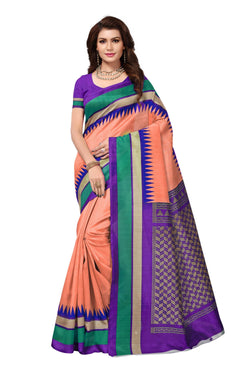 16TO60TRENDZ Pink Color Printed Bhagalpuri Silk Saree $ SVT00444