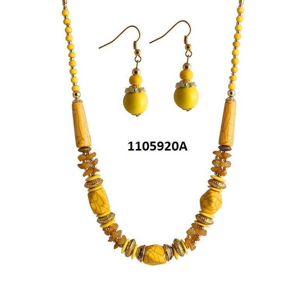Tanishka Fashions Yellow Beads Necklace
