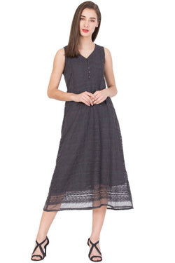 Boxymoxy Women's Embroidered Net GREY Casual LONG DRESS $ ZB-D1