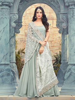 YOYO Fashion Latest Fancy Semi-stitched Faux Georgette Embroidered Anarkali Salwar Suit  $F1252