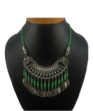 Aradhya Sterling Silver Jewel Set (Silver, Green)