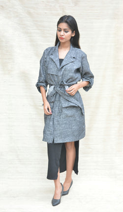 Grey Khadi Cotton Belted Long Jacket $ IWK-000250