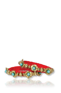 Bauble Burst Phool Bahar Orange Bangles Set