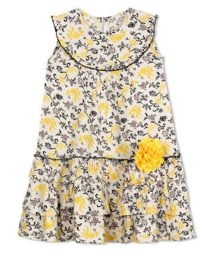 Budding Bees Girls Yellow Unique Flower A-Line Dress