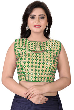 YOYO Fashion Green Bangalori Embriodered Extra Sleeve With Blouse $ BL4002-Green