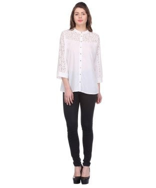 Glam a gal white 3/4 sleeve top