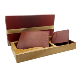 Baluchi's Brown Leather Wallet and Cardholder Gift Box Combo for Men $ BLC_COM_2IN1_02