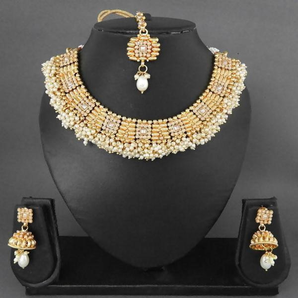 Tanishka Fashions Pearl Drop Copper Necklace Set With Maang Tikka