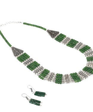 Aradhya Stone Jewel Set (Green, Silver)
