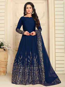YOYO Fashion Designer Embroidered Tafeta Silk Bridal Anarkali Salwar Suit - F1075-Blue