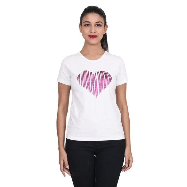 Second Half White Top with Glitter Heart Print-SH0062
