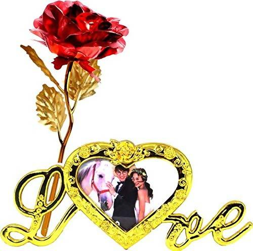 INTERNATIONAL GIFT Valentine Gift Red Rose and Photo Frame Stand with Beautiful Carry Bag (25 cm, Gold) $ IGF-121-1