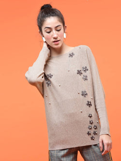 Aiyra Beige Color Wollen Pearl embellished embroidered top $ AR15801669_Free