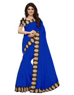 16to60trendz Blue Chanderi Lace Work Chanderi Saree $ SVT00062