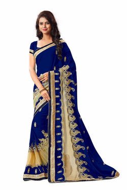 16to60trendz Navy Blue Georgette Embroidery Designer Saree $ SVT00265