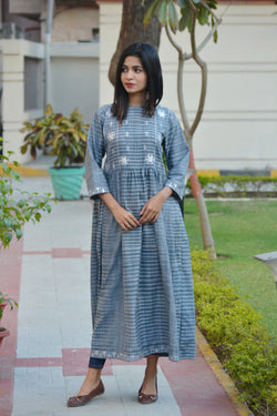 Grey Maxi Kurta in Traditional Gotta Patti $ IWK-000672