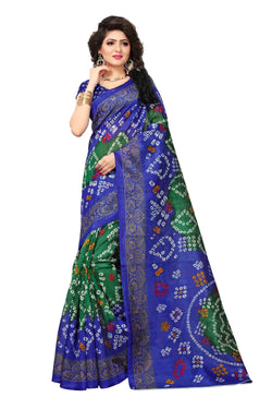 16TO60TRENDZ Blue Color Printed Bhagalpuri Silk Saree $ SVT00439